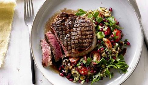 Grilled Beef Scotch Fillet with Smoky Eggplant and Pomegranate Salad