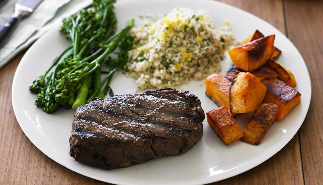 Blackened beef sirloin, pumpkin, broccolini and coucous