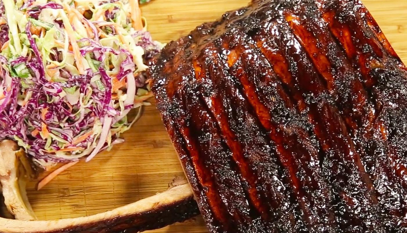 Sarah Tiong's pork ribs with garlic and black vinegar glaze